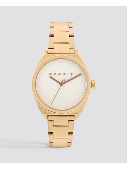 Gold Round Dial Stainless Steel Watch