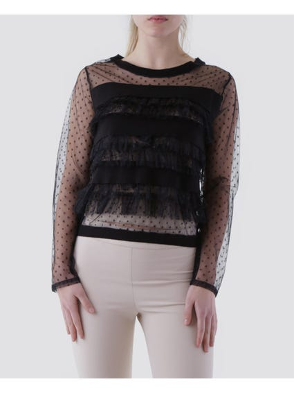 Mesh Tassel Long Sleeves Top