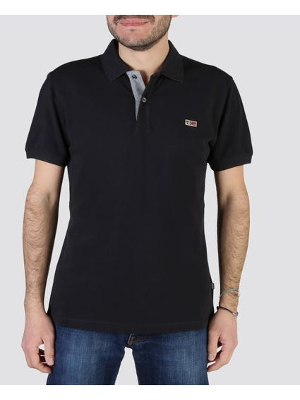 Black Solid Short Sleeves Polo
