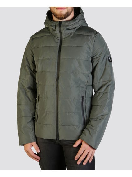 Green Quilted Bomber Jacket