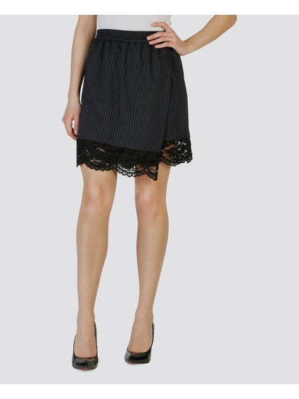 Black Patterned Lace Hem Short