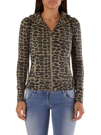 Multi Hooded Zip Animal Print Sweatshirt