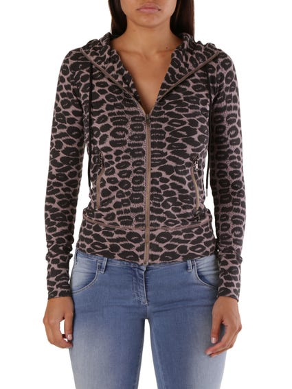 Beige Hooded Zip Animal Print Sweatshirt