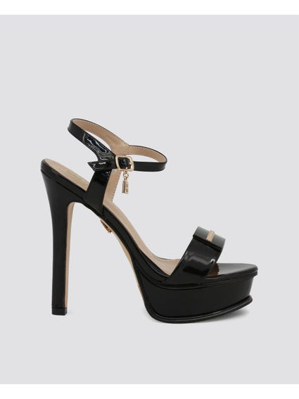 Black Ella Patent Sandals