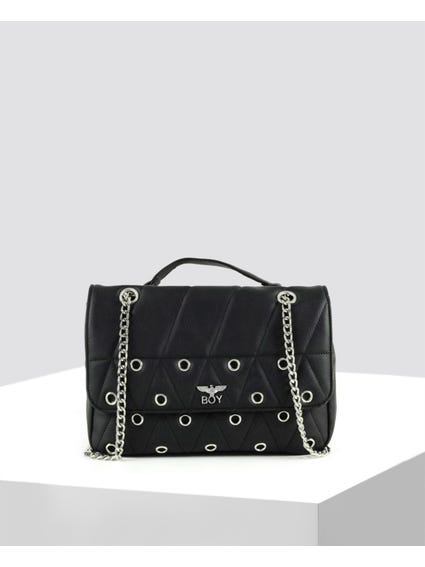 Black Quilted Eyelet Crossbody Bag