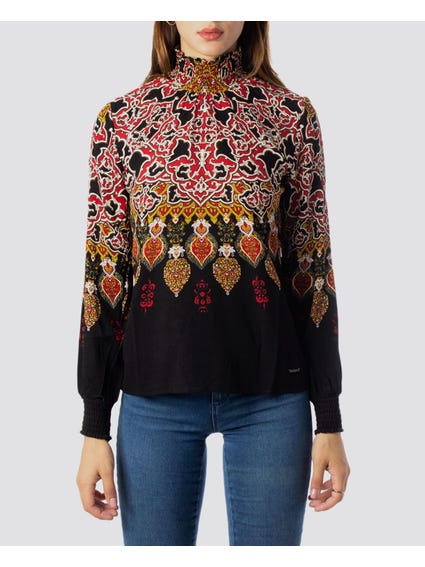 Black Printed Turtleneck Blouse