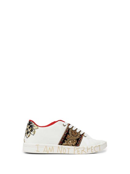 White Lace Up Sequin Sneakers