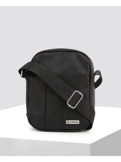 Black Leather Hold Crossbody Bag