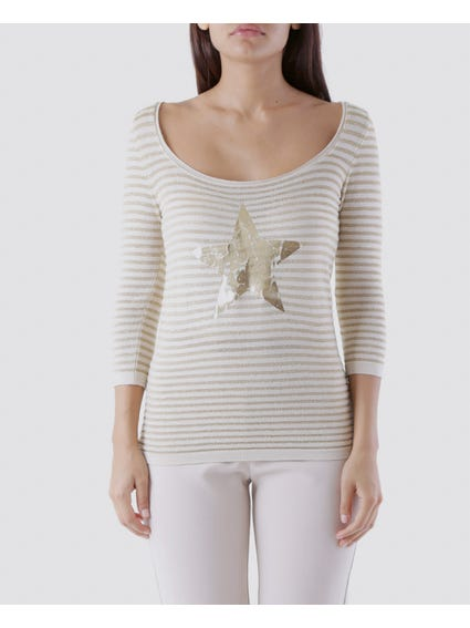 Beige Graphic Star Print Top
