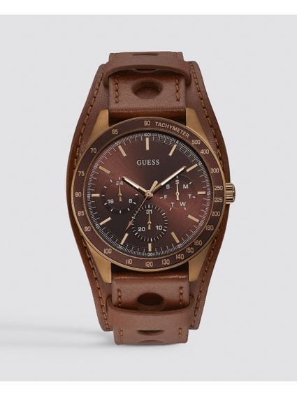 Brown Multifunction Cuff Watch