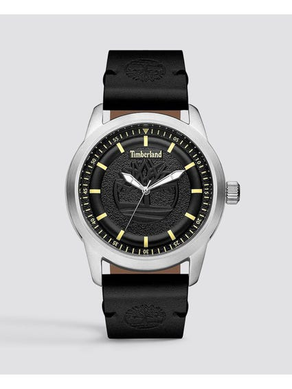 Leather Black Dial Quartz Watch