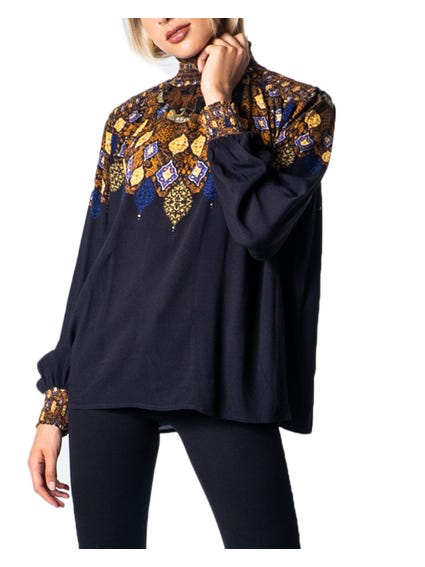 Turtleneck Printed Long Sleeve Blouse