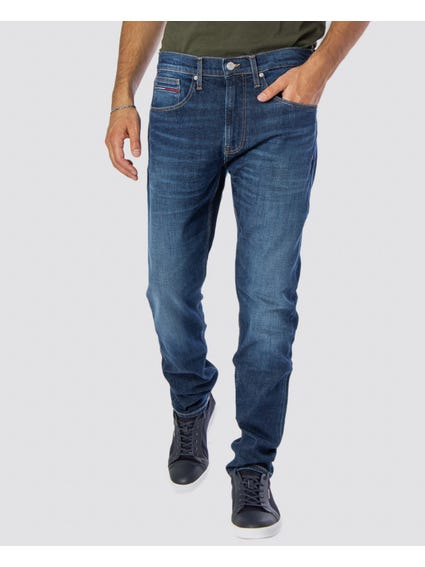 Washed Button Slim Fit Jeans