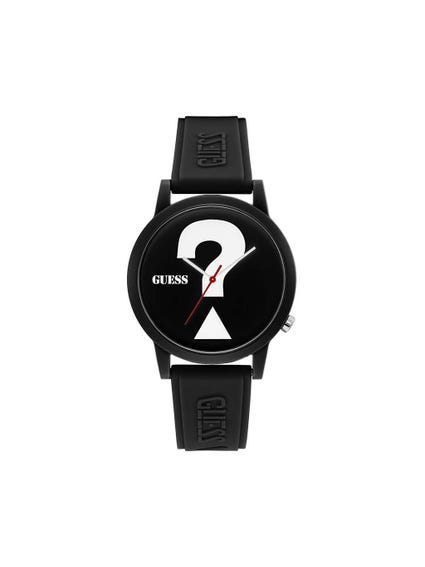 Black Dial Rubber Strap Watch