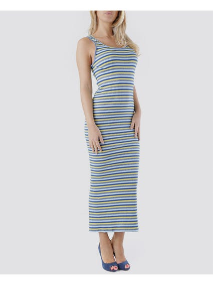 Blue Striped Bodycon Dress