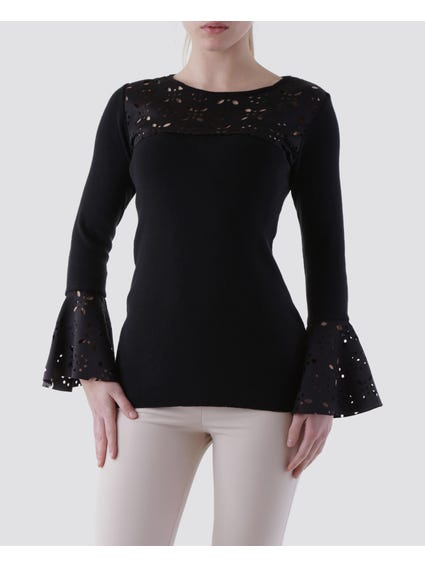 Round Bell Sleeves Blouse