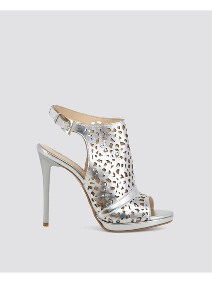 Silver Cut Out Detailed High Heel Sandals