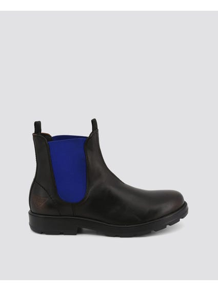 Black Blue Jasper Leather Ankle Boots