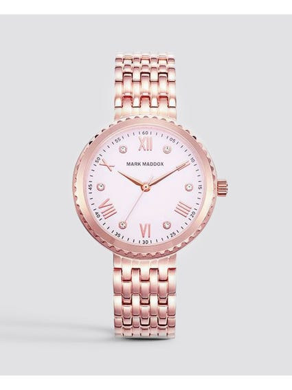 Rose Gold Patterned Analog Watch