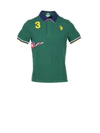 Green Collar Visible Logo Shortsleeve Polo