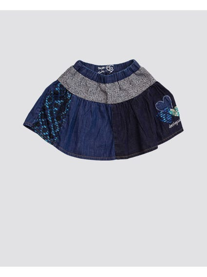 Denim Sequins Detail Kids Skirt