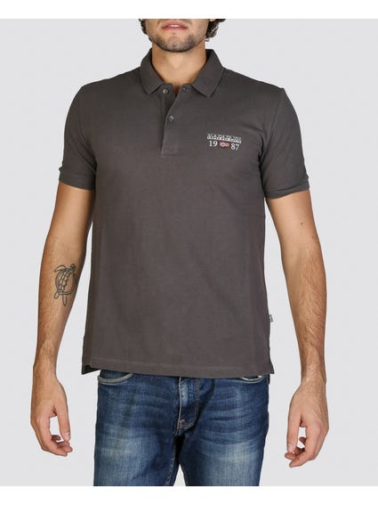 Logo Printed Grey Polo Shirt