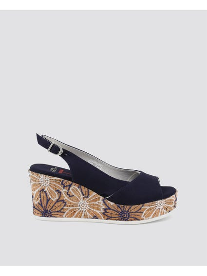Black Donet Embroider Wedge Sandals