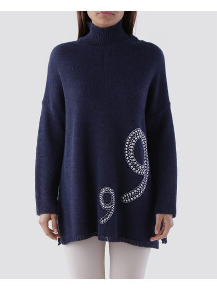 Pearl Embellished High Neck Knitwear