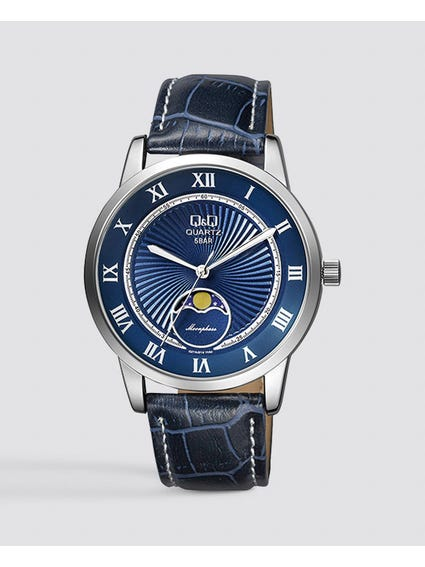 Blue Dial Leather Wrist Watch