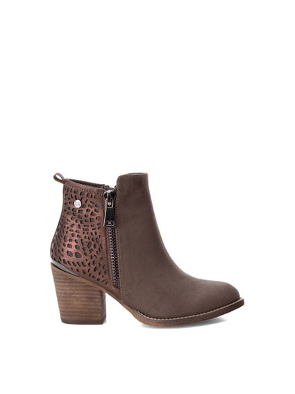 Laser Cut Leather Ankle Boots