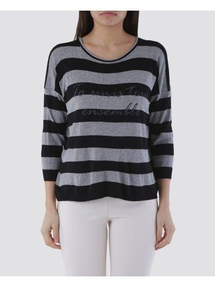 Black Printed Long Sleeves Top