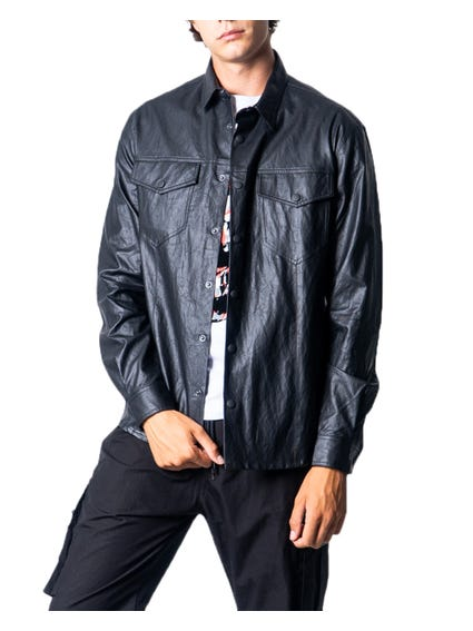 Leather Button Long Sleeve Shirt