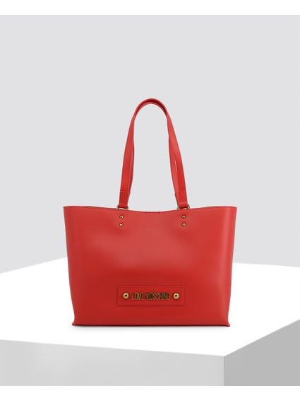 Red Signature Leather Shopper Bag