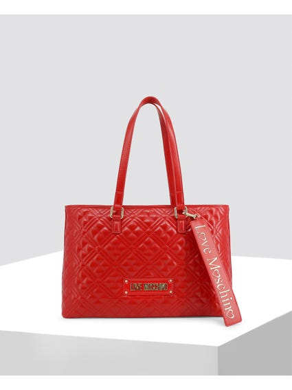 Red Quilted Leather Shopper Bag