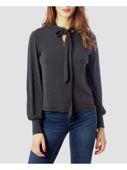 Bow Neckline Long Sleeve Blouse