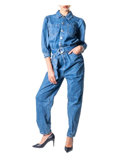 Collar Denim Button Jumpsuit