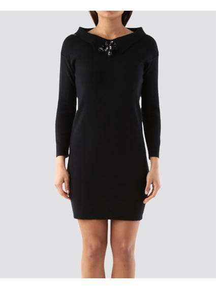 Wide Neck Gems Embellished Dress