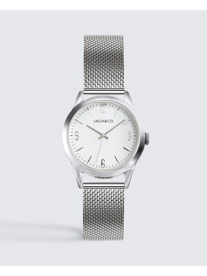 White Dial Mesh Strap Analog Watch