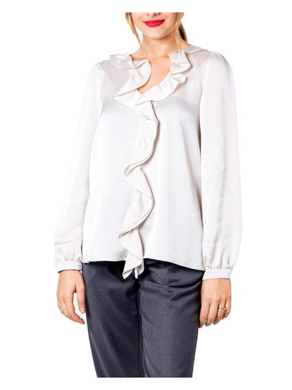 White  V neckline Long Sleeves Alcide Blouse