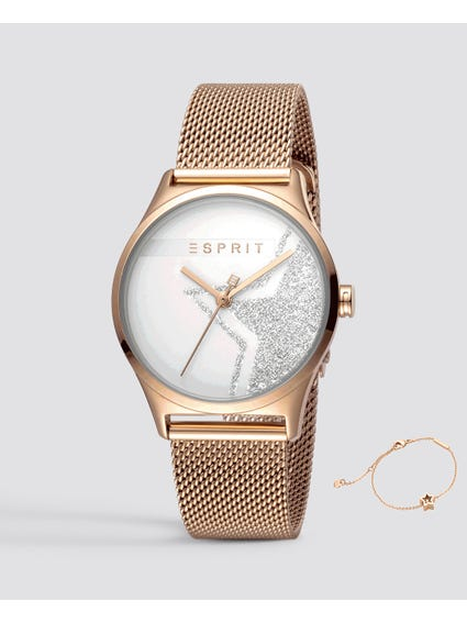 Rose Gold Sparkle Star Analog Watch