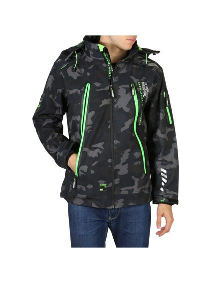 Black Hood Zip Camo Jacket