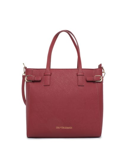 Red Double Top Leather Shoulder Bag