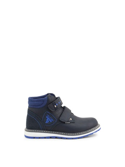 Blue Velcro Strap Kids Ankle Boots