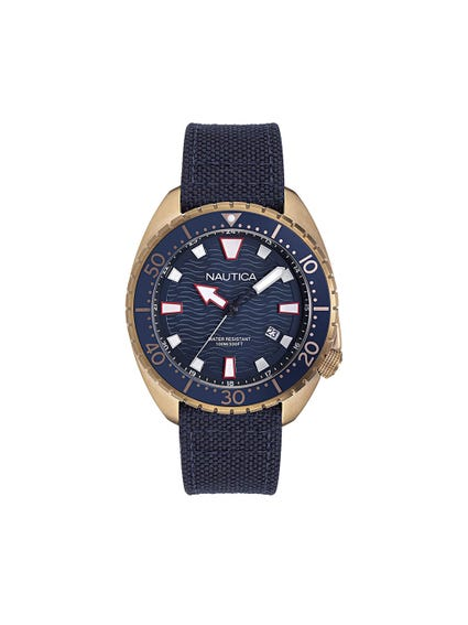 Navy Blue Analog Leather Strap Watch