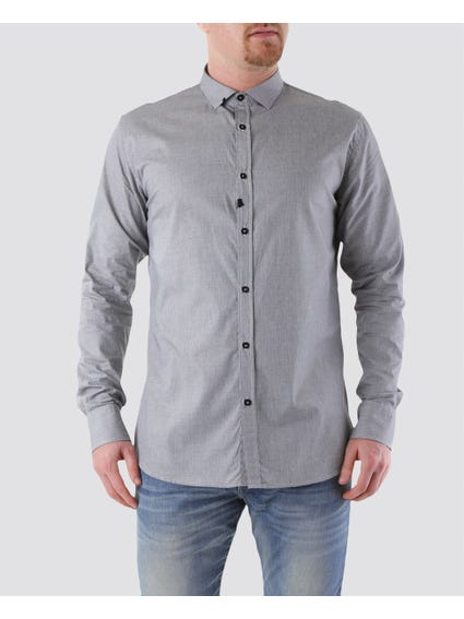 Grey Collar Long Sleeve Shirt