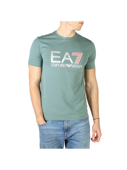 Green Round Printed Logo T Shirt