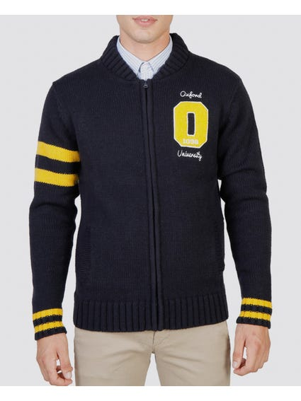Navy Oxford Zipped Sweater