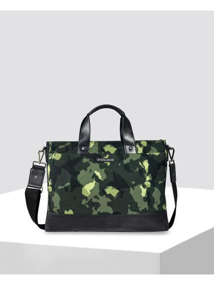 Green Camo Zipped Briefcase