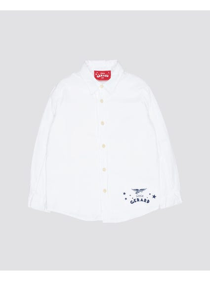 White Full Button Kids Shirt