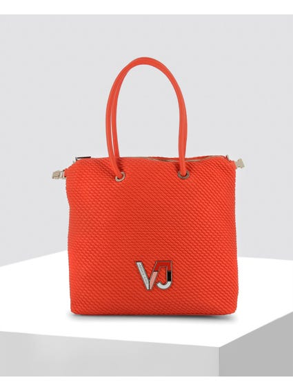 Orange Textured Leather Shopper Bag